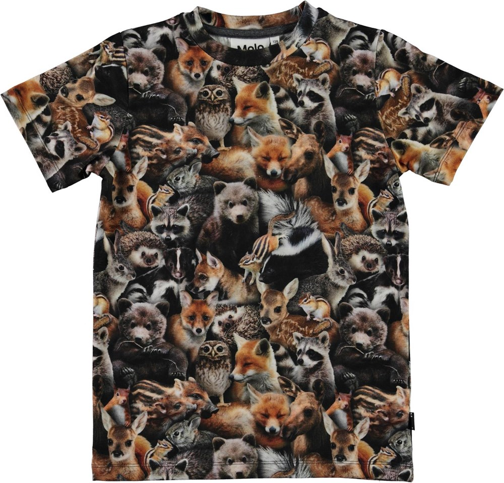 Ralphie - Forest Animals - Brown organic t-shirt with animal print