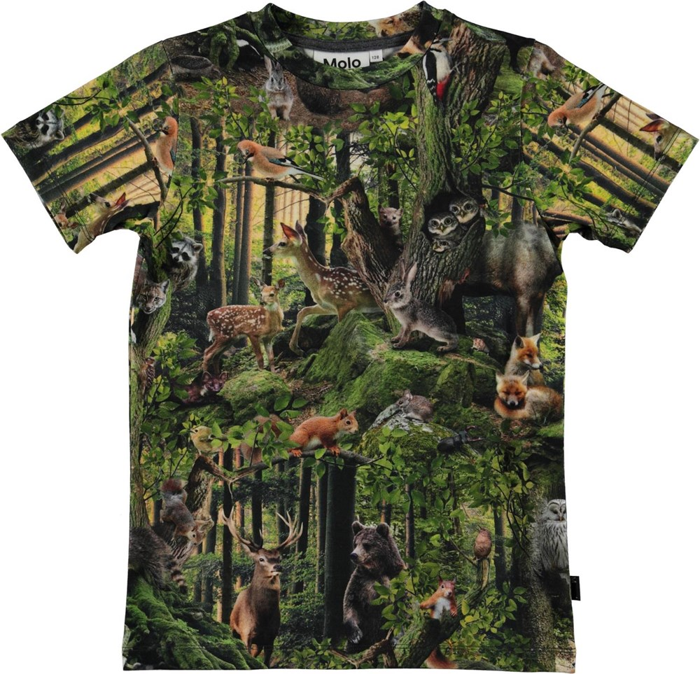 Ralphie - Forest Life - Organic t-shirt with a forest print and animals