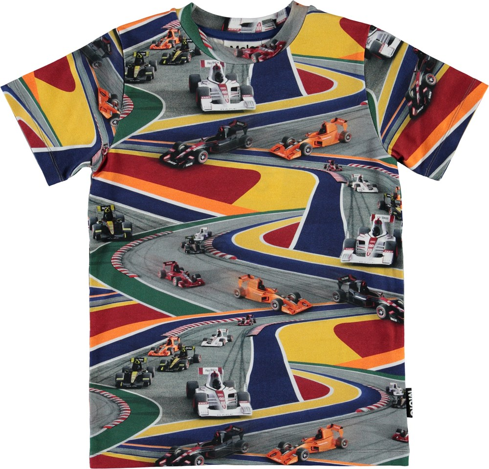 Ralphie - Full Speed - Organic t-shirt with colourful race cars