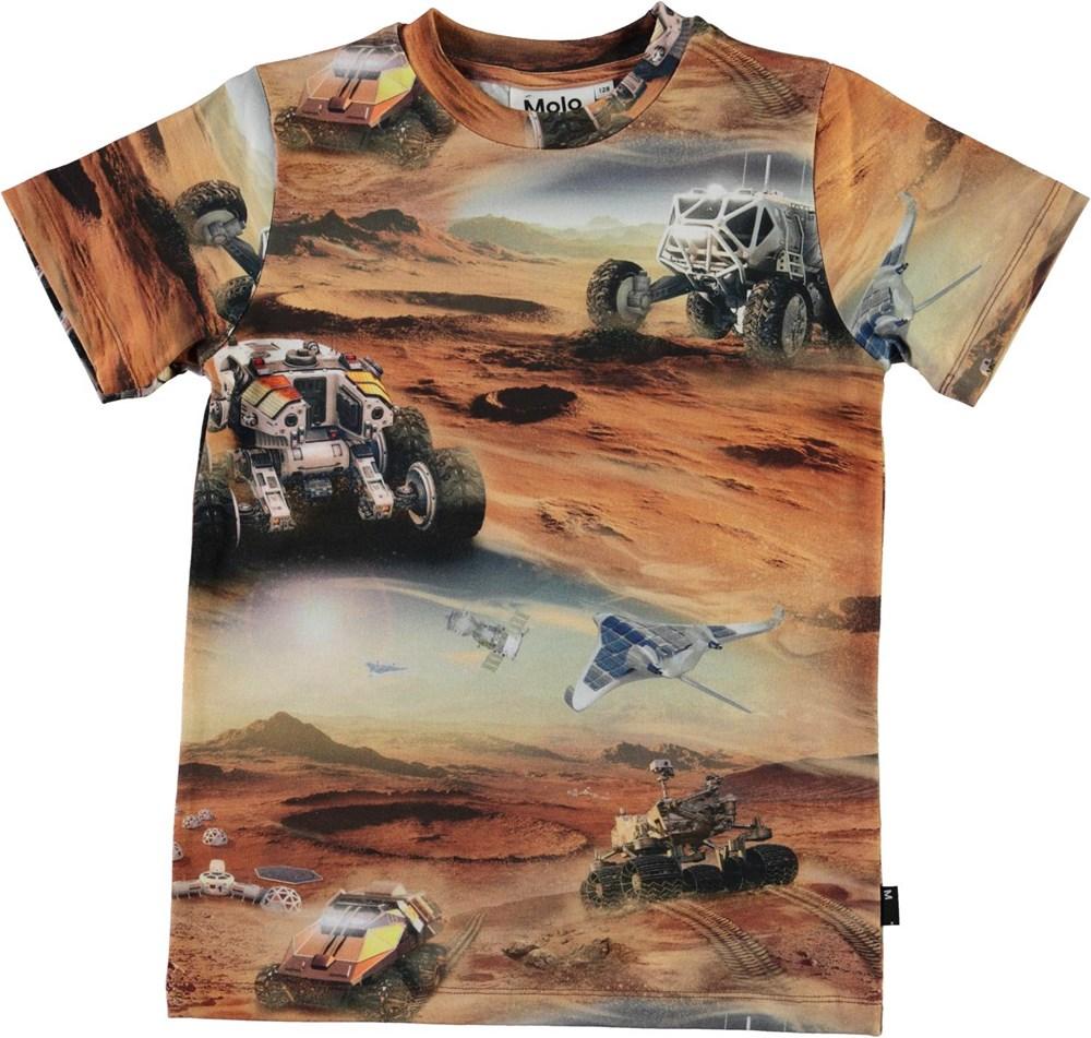Ralphie - Mars - Brown organic t-shirt with Mars print