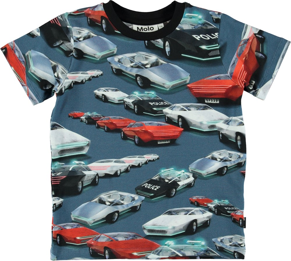 Ralphie - Self-Driving Cars - Blue t-shirt with cars and police.