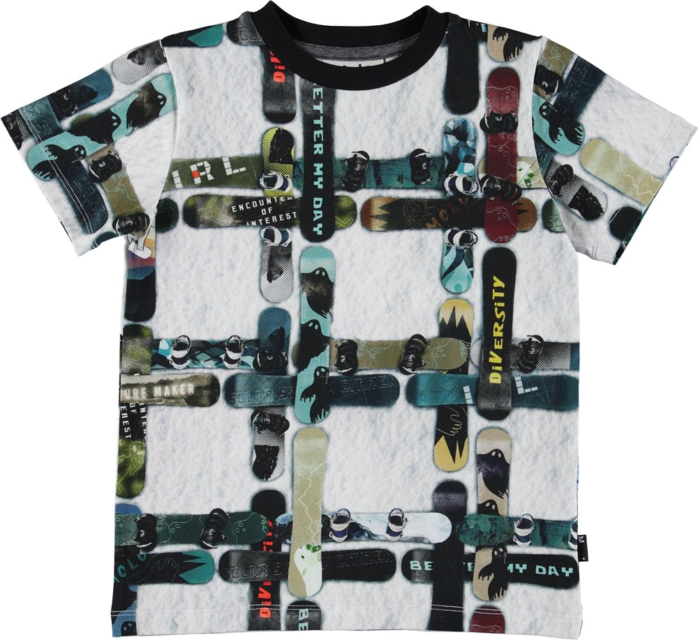 Ralphie - Snowboard Check - T-shirt with snowboards.