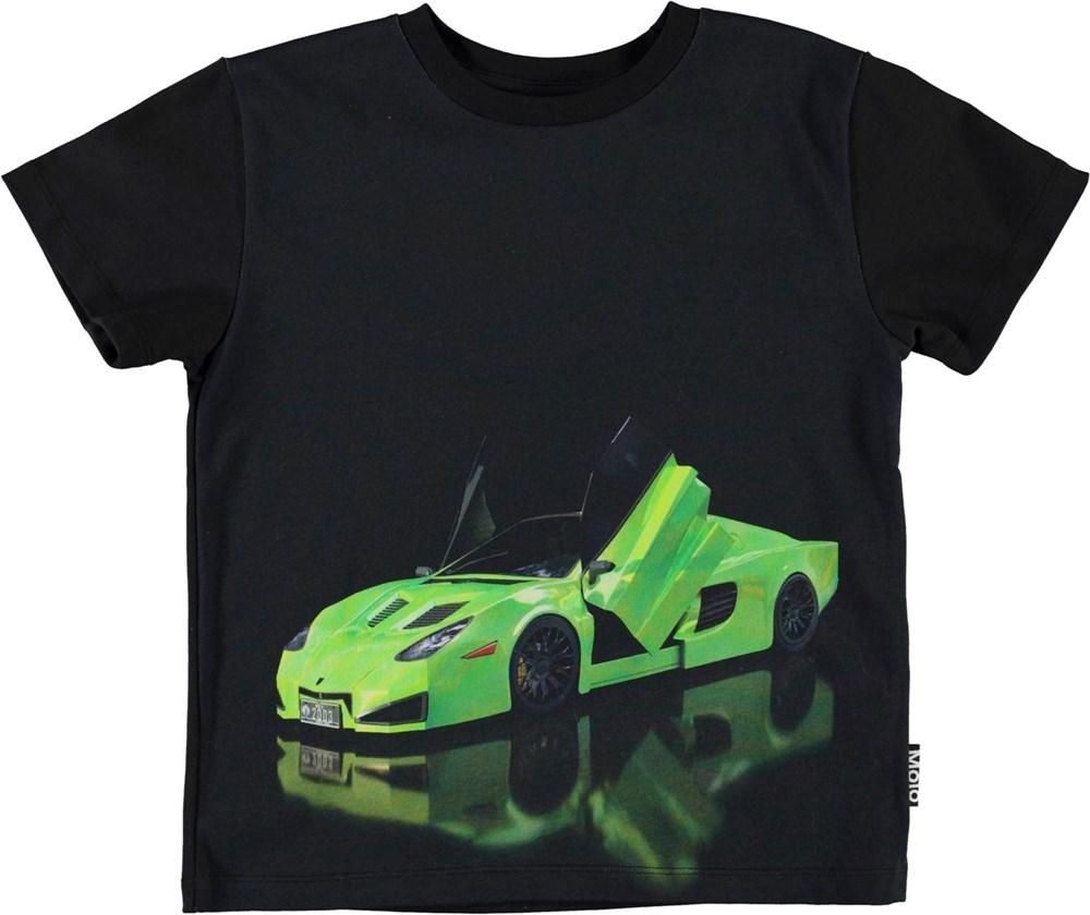 Rame - Green Car - Black organic t-shirt with green car