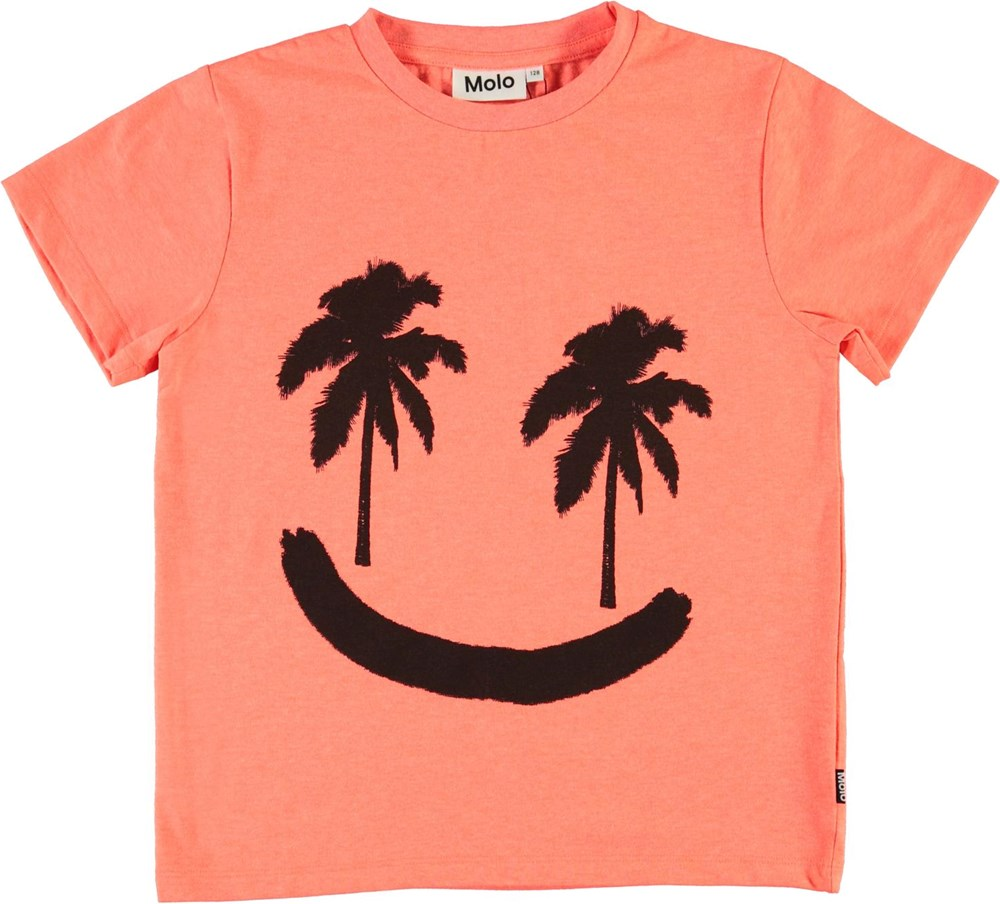 Rame - Neon Coral - Coral red smiley palm tree t-shirt