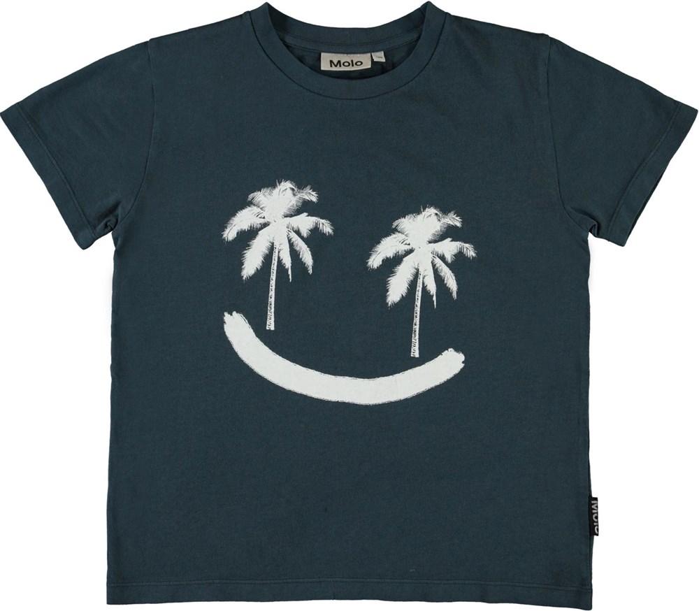 Rame - Summer Night - Dark blue smiley palm tree t-shirt