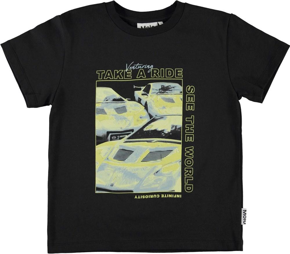 Rame - Techno Car - Black organic t-shirt with car print