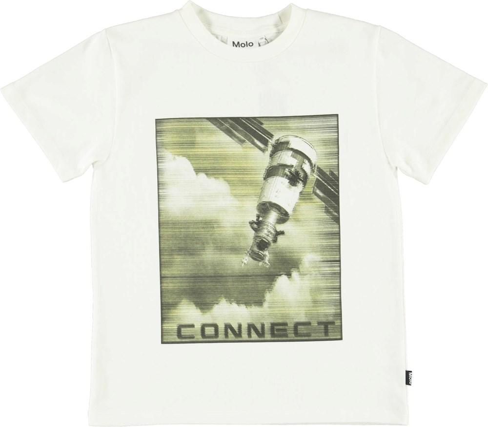 Rame - White Star - White organic t-shirt with spaceship prints