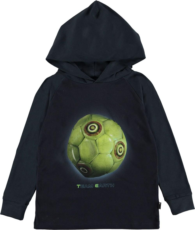 Ramzi - Team Earth - Dark blue hoodie with football.