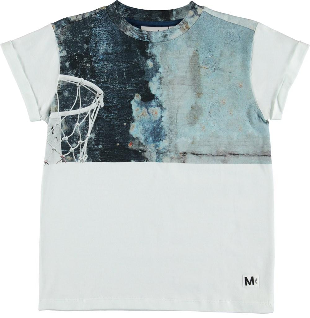 Randon - Basket - White t-shirt with basketball print.