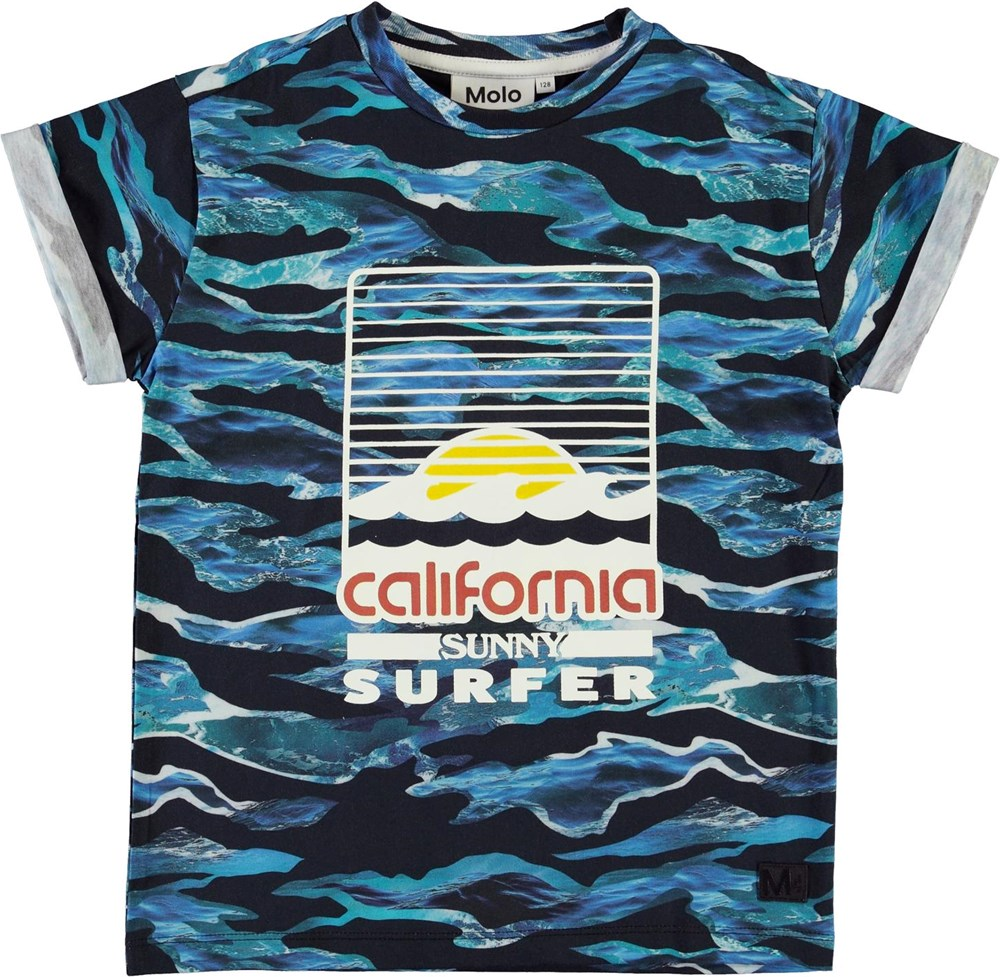 Randon - Camo Waves - Blue organic California wave t-shirt