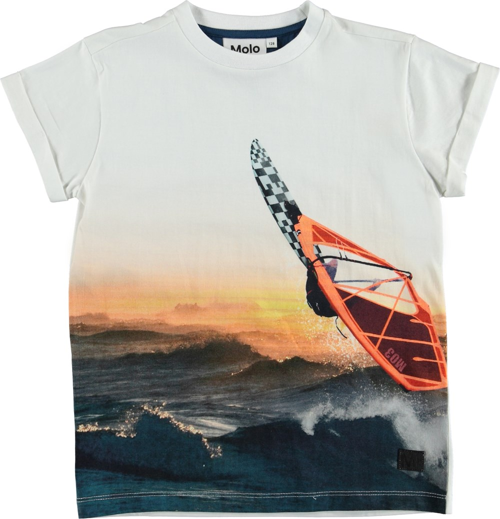 Randon - Point Break - T-shirt with surf and sunset.