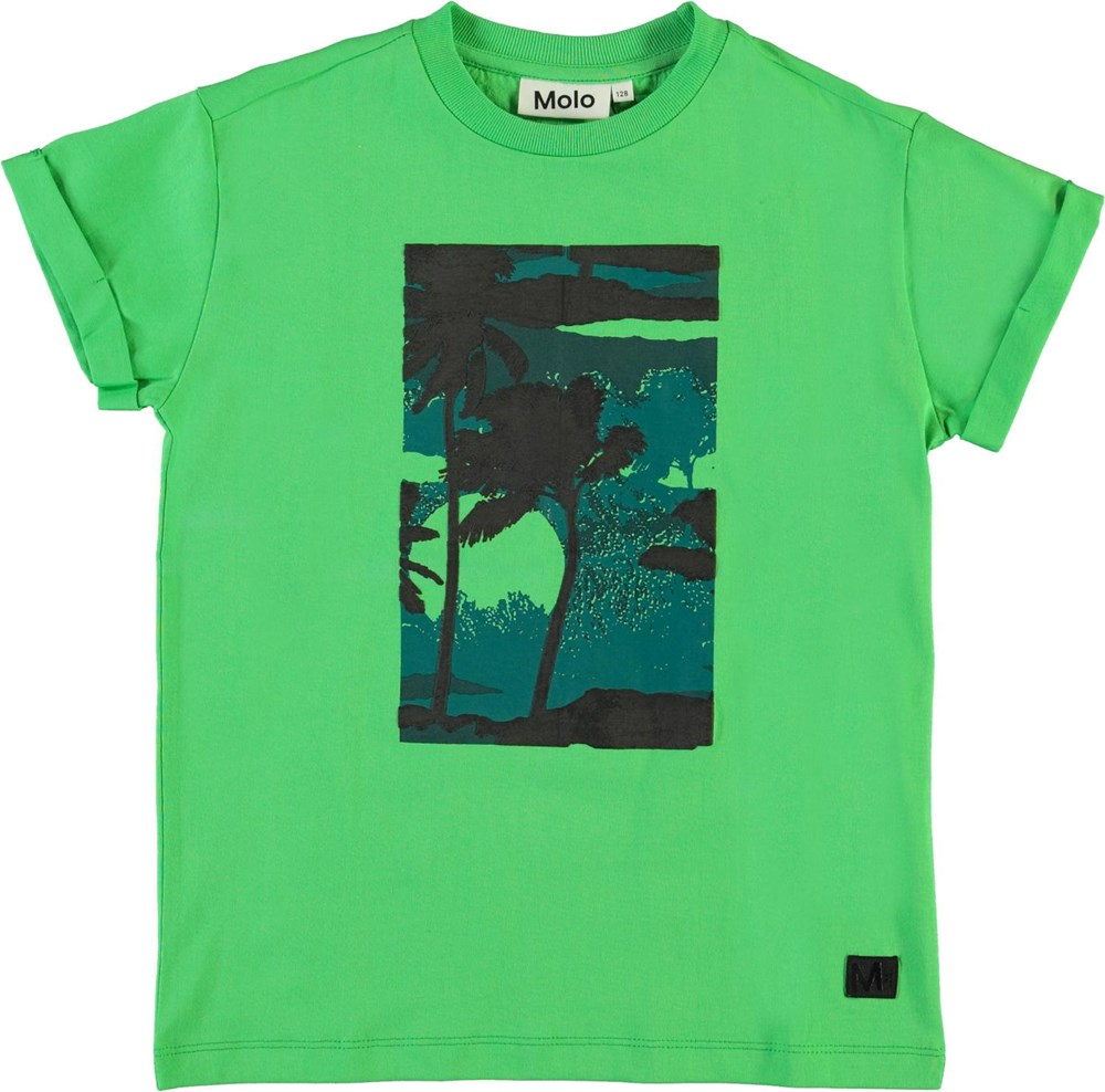 Randon - Scuba Green - Green organic t-shirt with palm trees