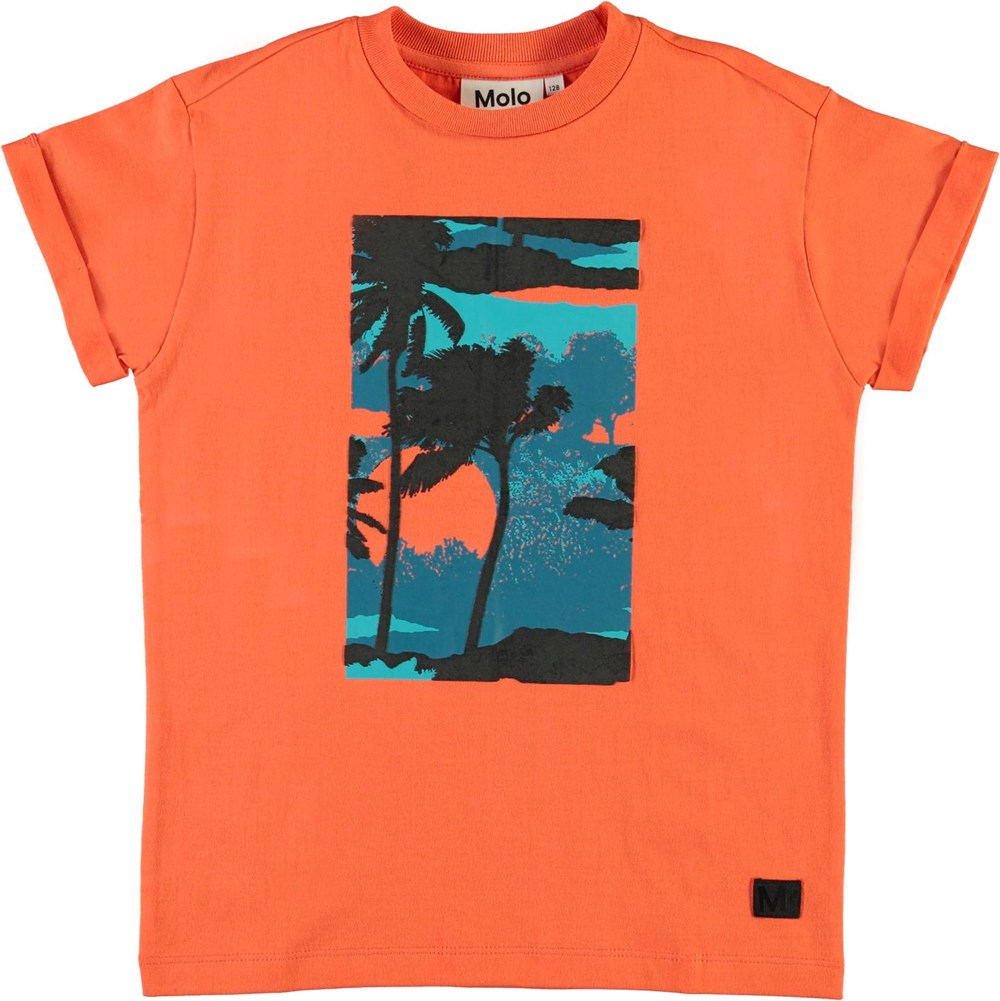 Randon - Surf - Red organic t-shirt with palm trees