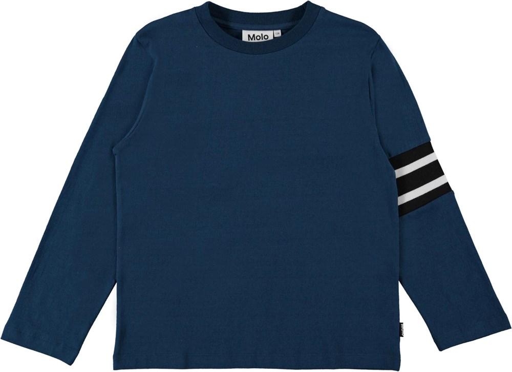 Ras - Sea - Long sleeve, blue organic top with stripes