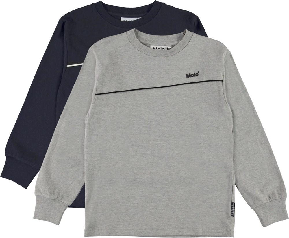 Rasmono 2-Pack - Navy Grey - Organic 2-pack basic top in blue and grey