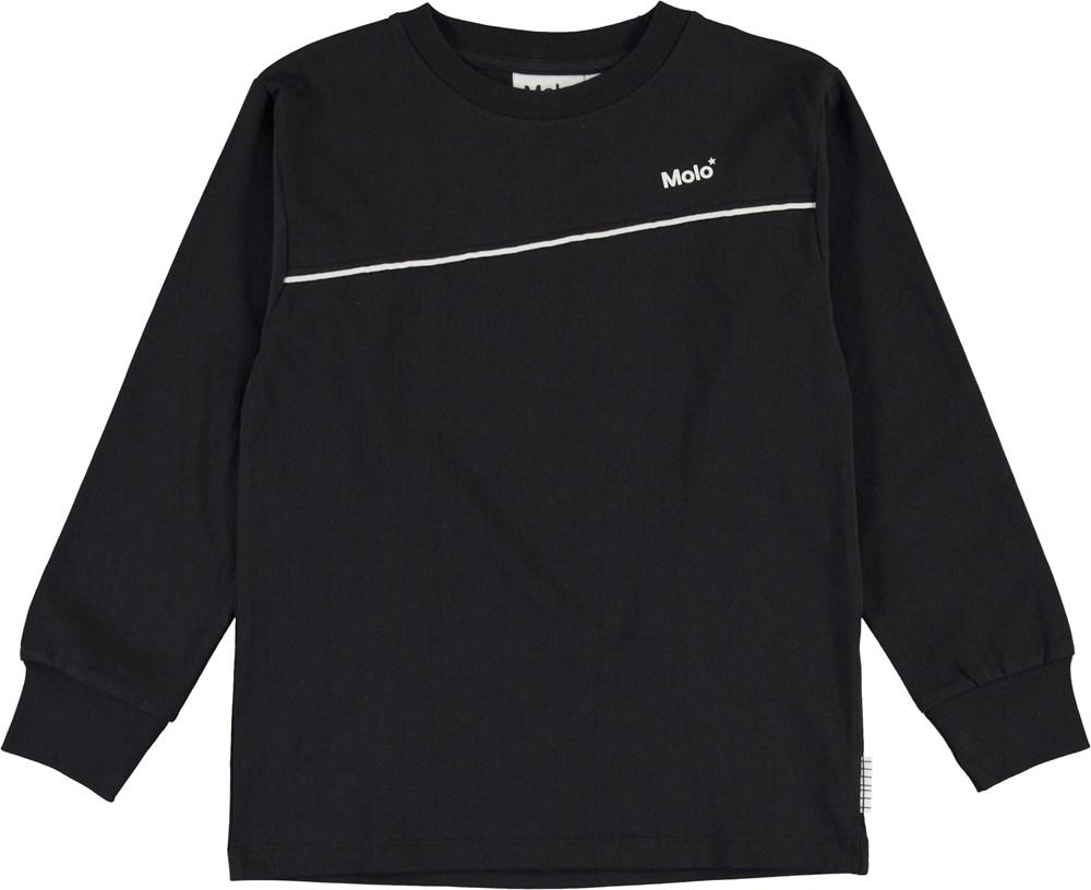 Rasmono - Black - Black organic top with logo and stripe
