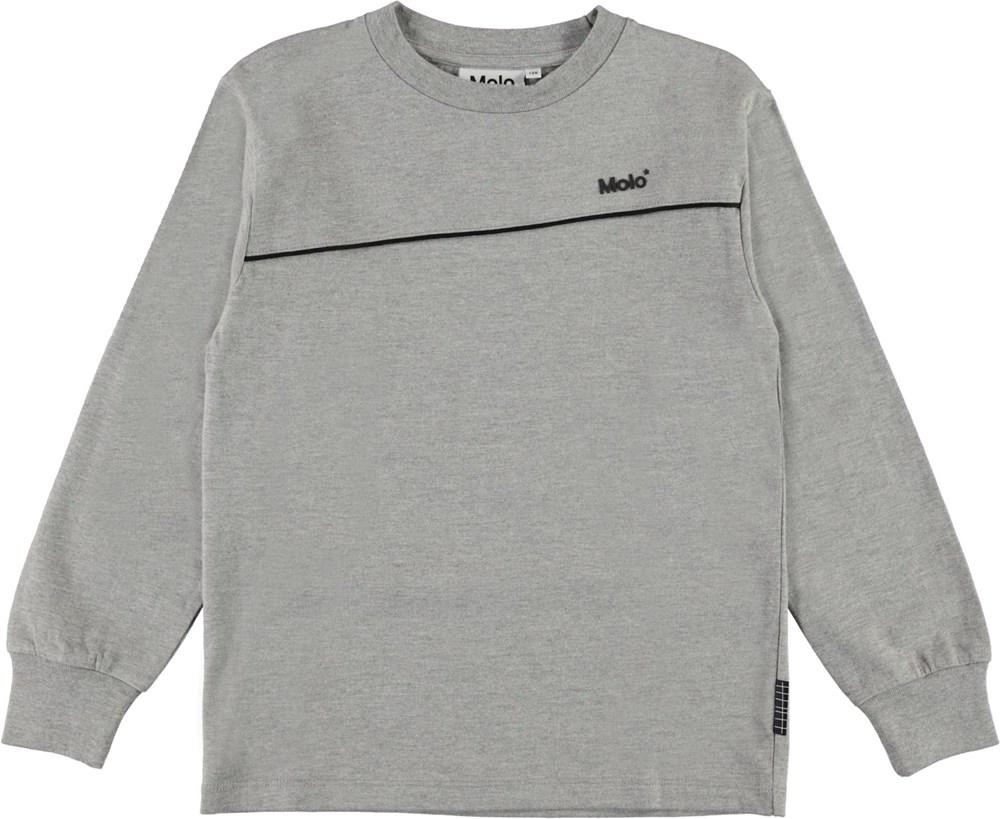 Rasmono - Grey Melange - Long sleeve, grey organic top
