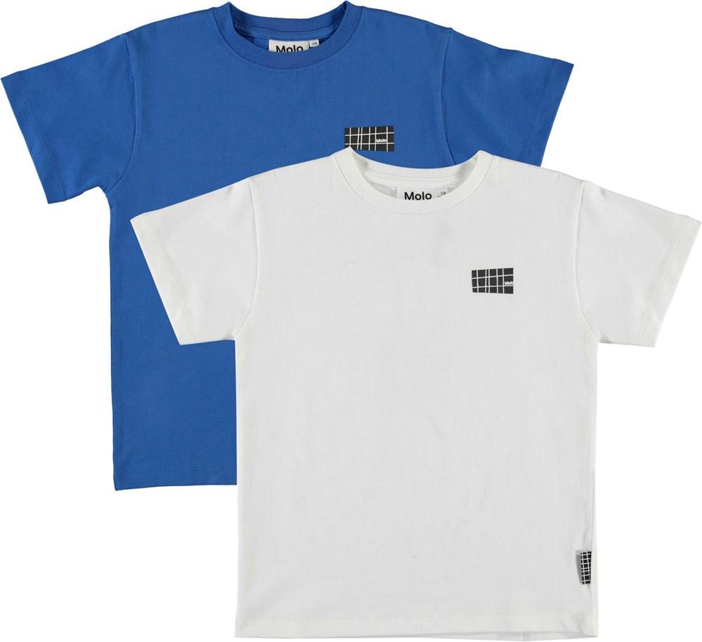 Rasmus 2-Pack - Cobalt - Organic, 2-pack blue and white t-shirt