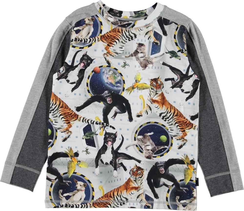 Raso - No Gravity - Grey top with animals.