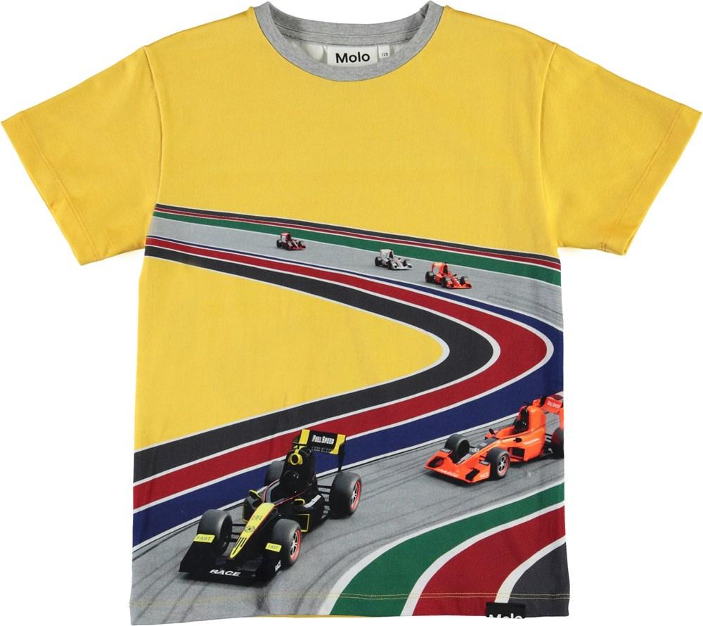 Raveno - Full Speed Curve - Yellow organic t-shirt with cars