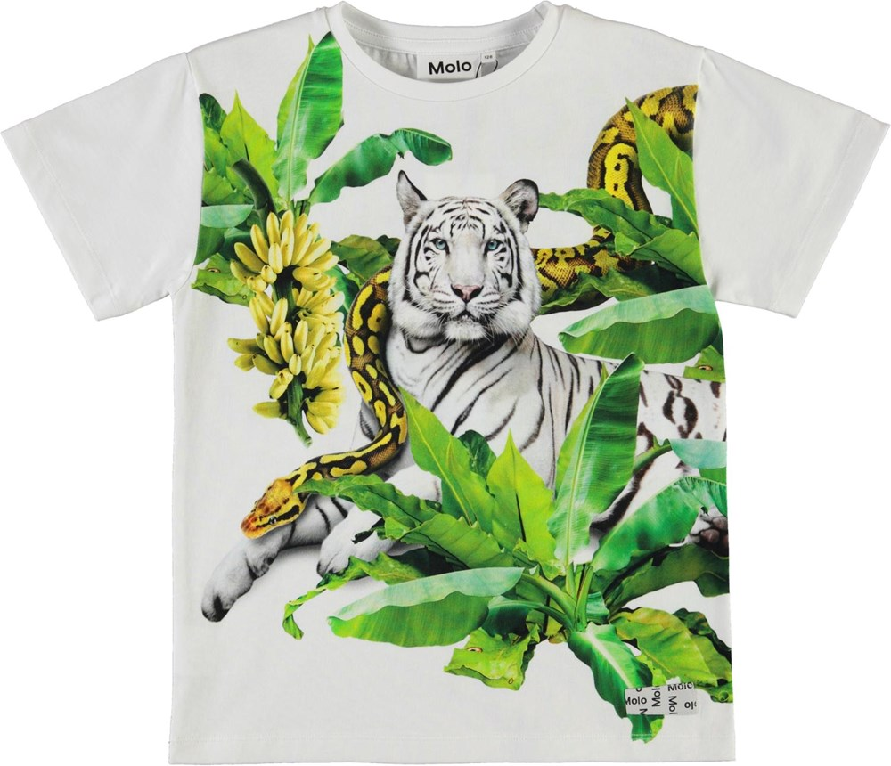 Raveno - Resting Tiger - White organic t-shirt with tiger and snake