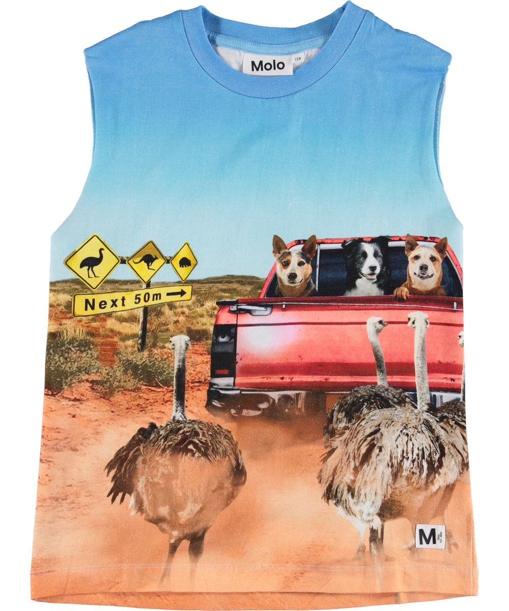 Ray - In The Bush - Vest with ostrich and dogs.