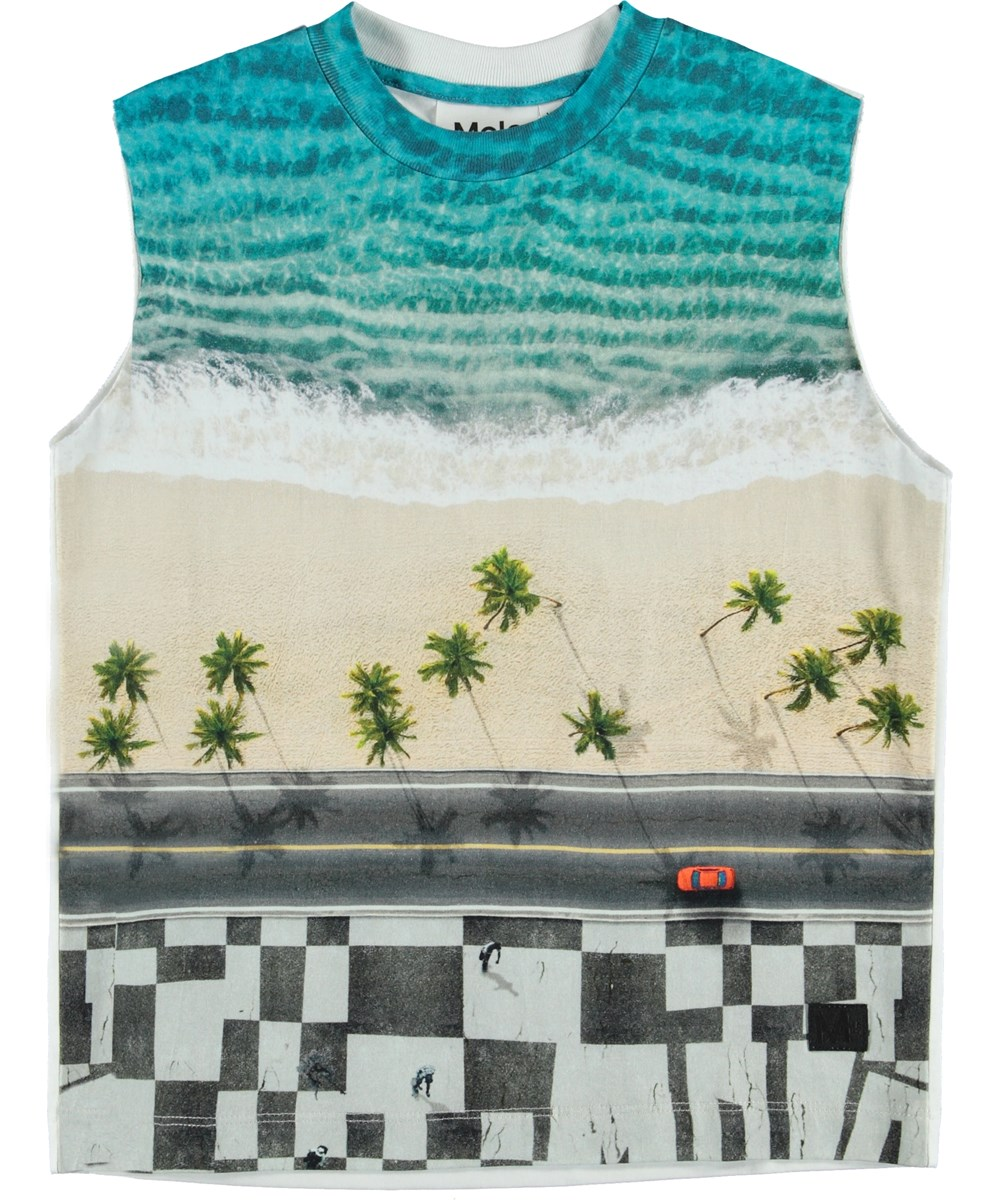 Ray - Playa - Vest with a beach print.