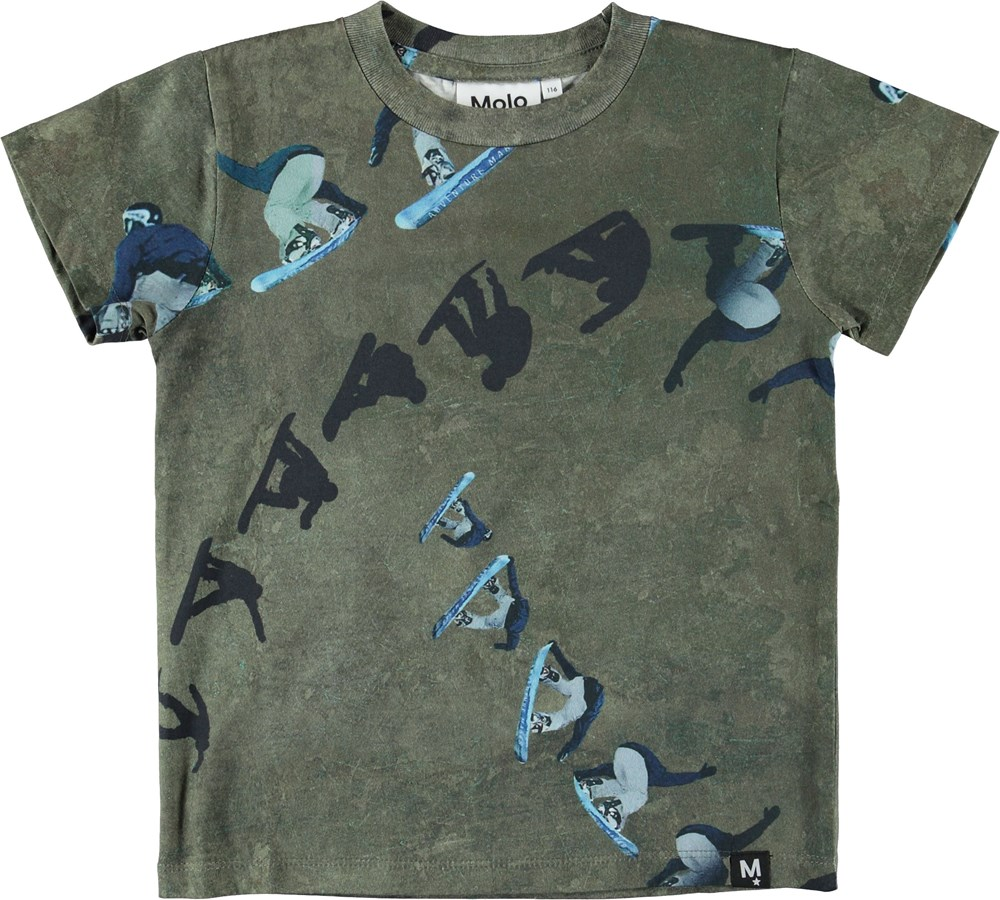 Raymont - Graphic Snowboarder - Green t-shirt with snowboarders.