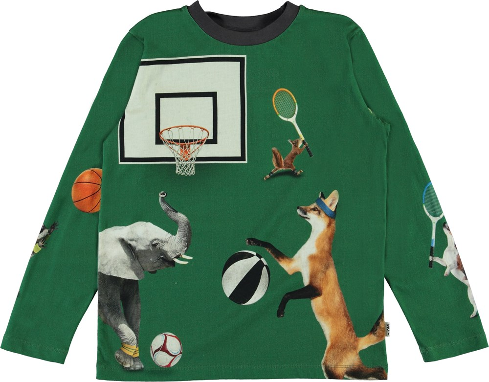 Reif - Ball Players - Green organic top with animals