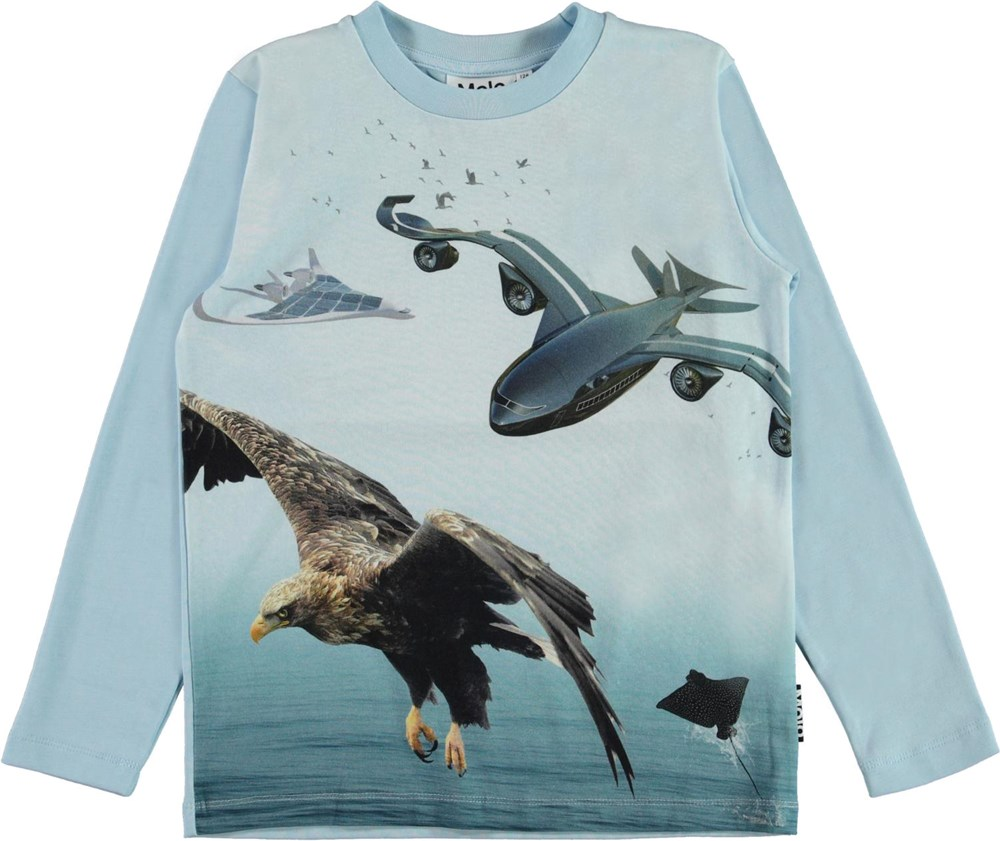 Reif - Biomimicry - Blue organic top with eagle and airplane print