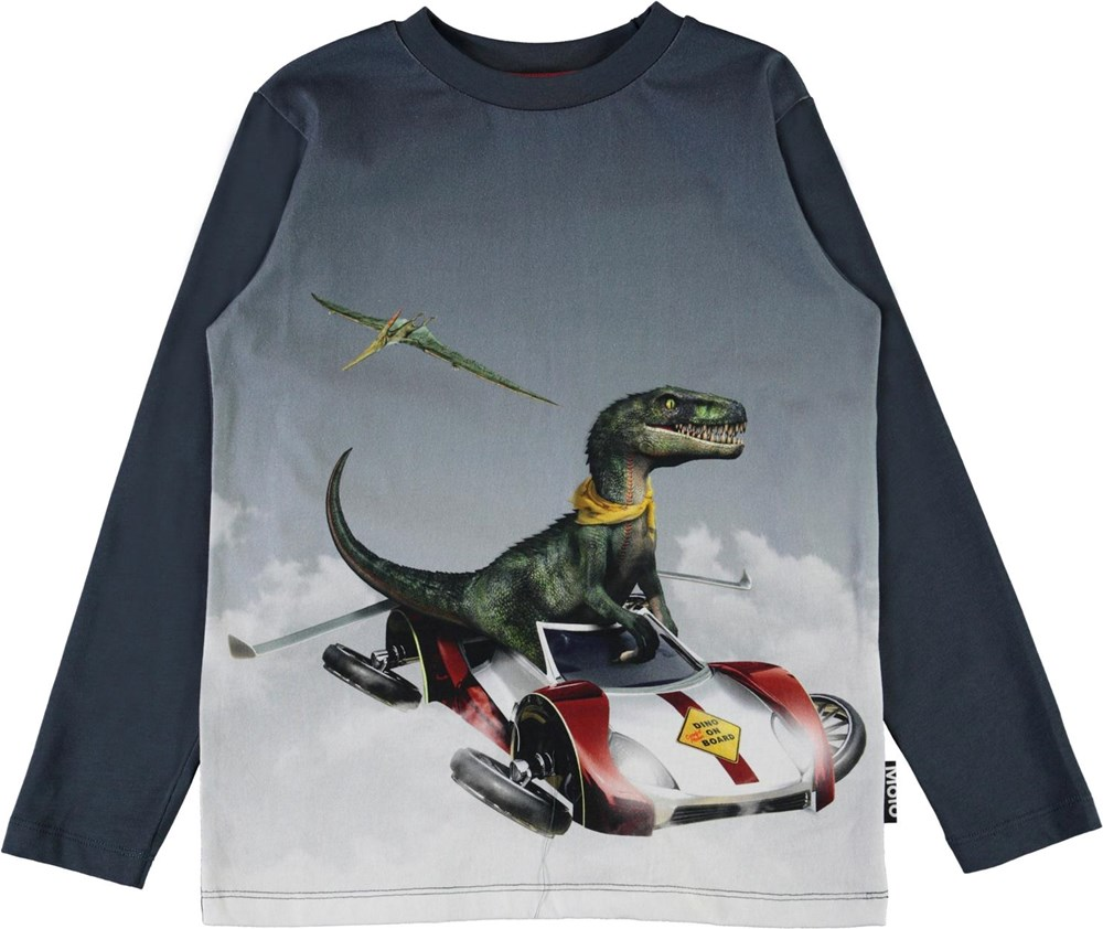 Reif - Dino On Board - Blue organic top with dinosaur and flying car