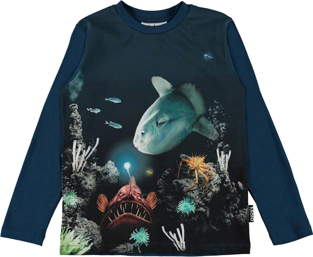 Reif - Fishy Business - Blue organic top with ocean print
