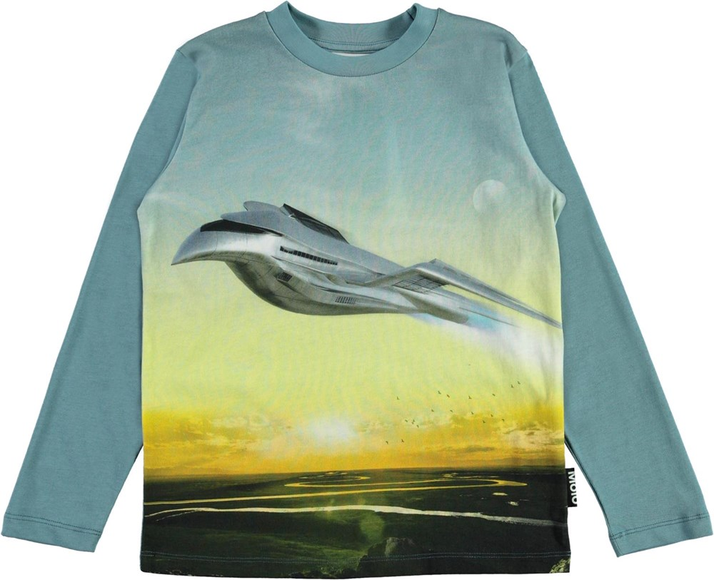Reif - Flying - Long sleeve organic top with airplane print