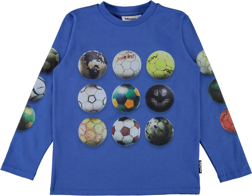 Reif - Footballs - Blue organic top with football print