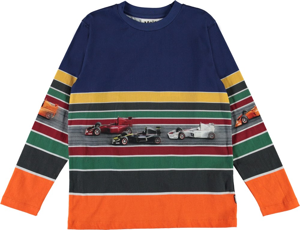 Reif - Full Speed Track - Organic striped top with race cars