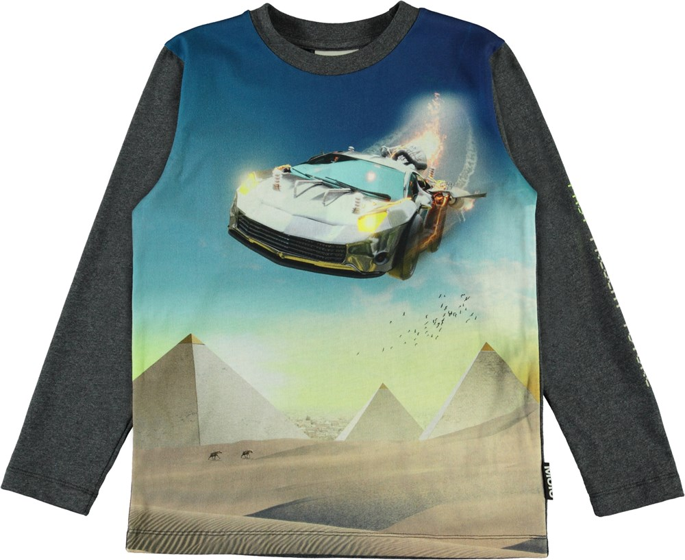 Reif - Past - Grey long sleeve top with a car print