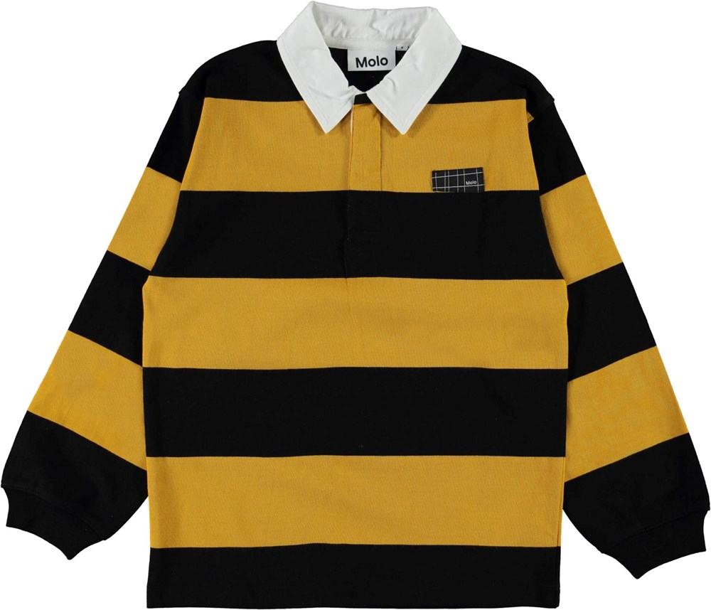 Relz - Wide Stripe - Yellow and black striped organic polo shirt with collar