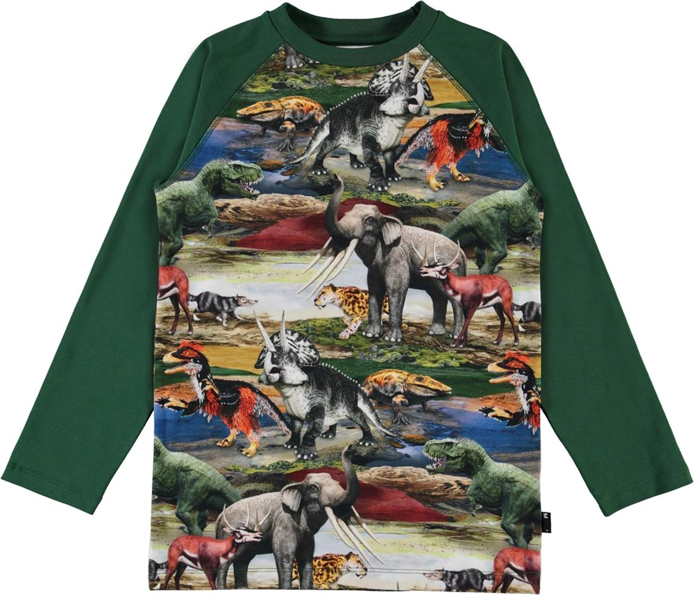 Remington - Ancient World - Green organic top with prehistoric animals