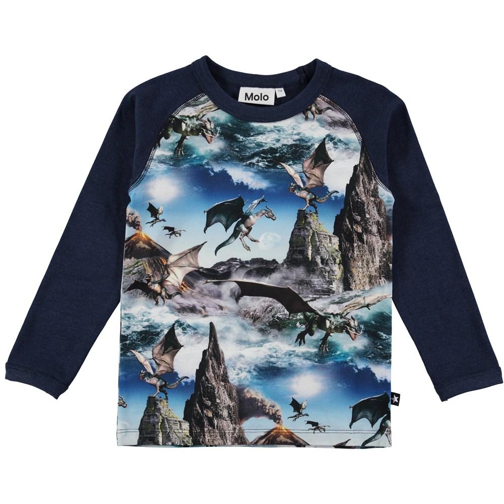 remington dragon island long sleeve blue top with dragon print