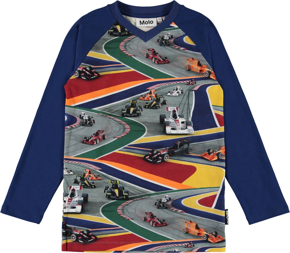Remino - Full Speed - Blue organic top with race cars
