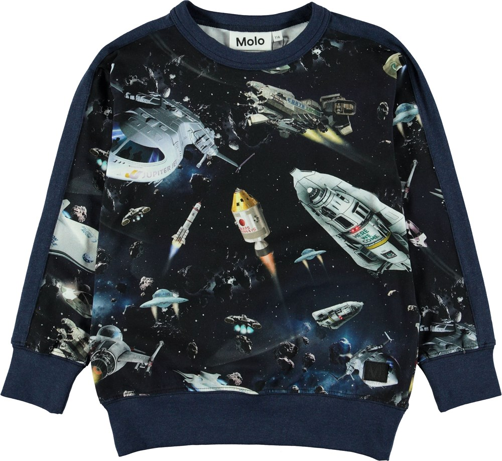 Reno - Space Traffic - Blue sweatshirt with spaceships.