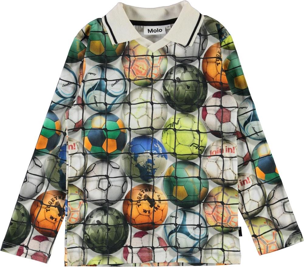 Renomi - Footballs - Organic long sleeve polo with footballs