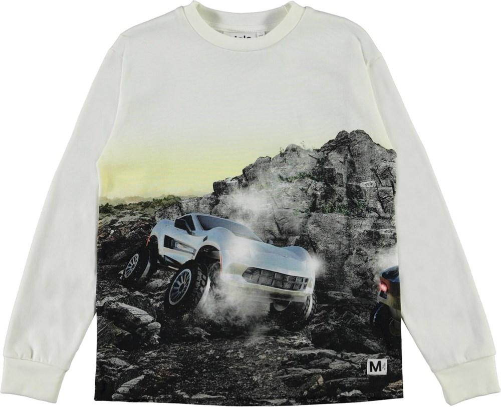 Rexton - Terra Car - White organic top with car print