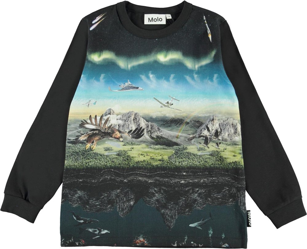 Rez - Entirety - Black organic top with airplane and eagles
