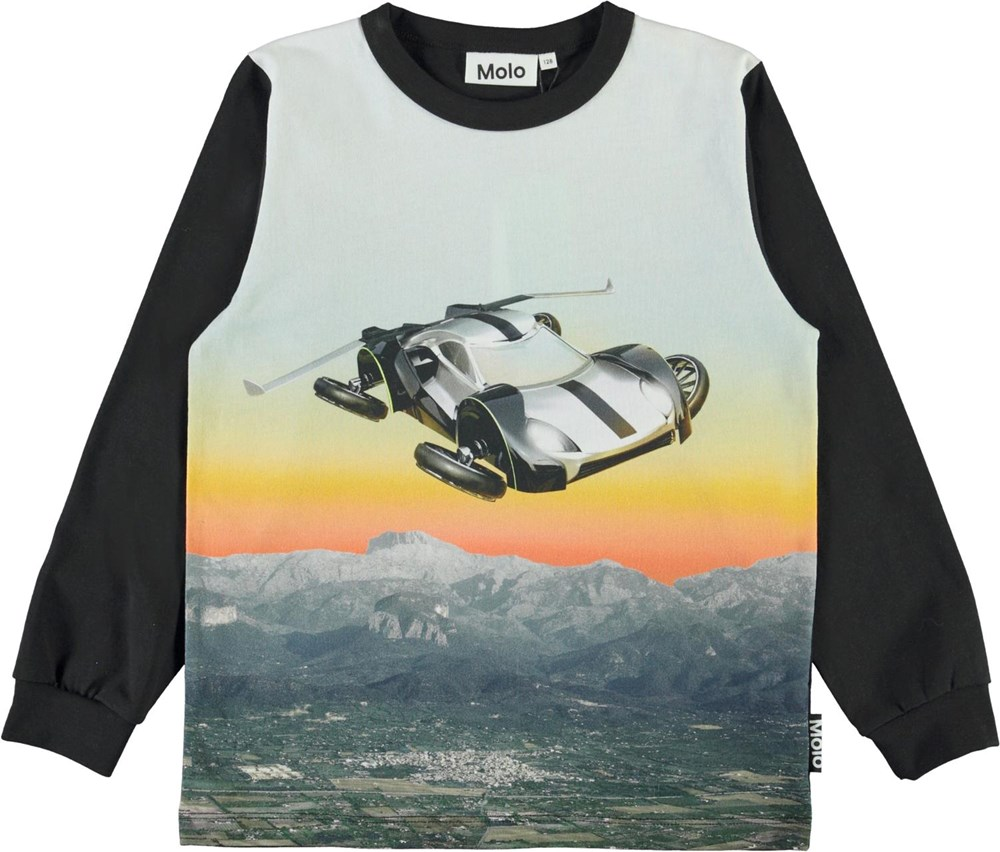 Rez - Hover Car - Black organic top with flying cars