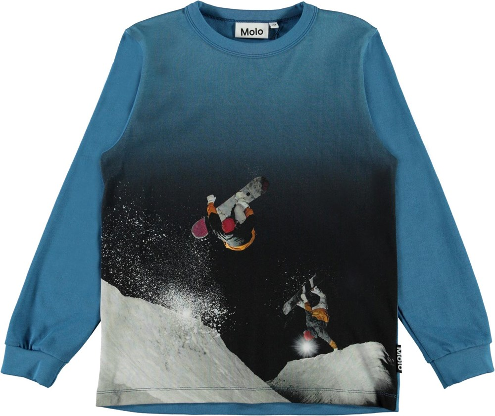Rez - Snowboarders - Blue organic top with a snowboarder print