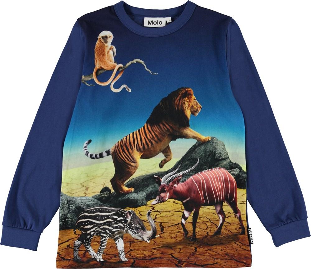 Rez - Wild Future - Blue organic top with animals