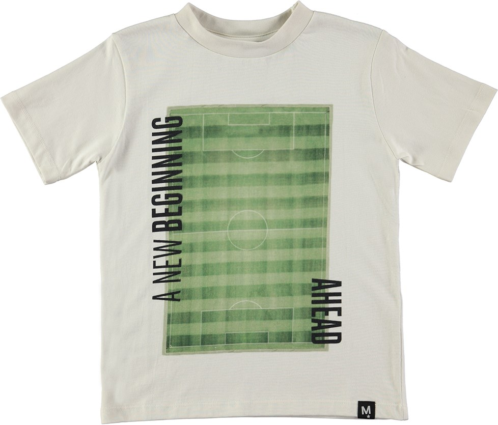 Rezin - A New Beginning___ - White t-shirt with football pitch print
