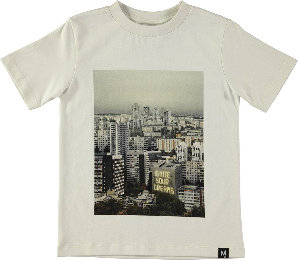 Rezin - Ignite Your Dream - White t-shirt with digital skyline print