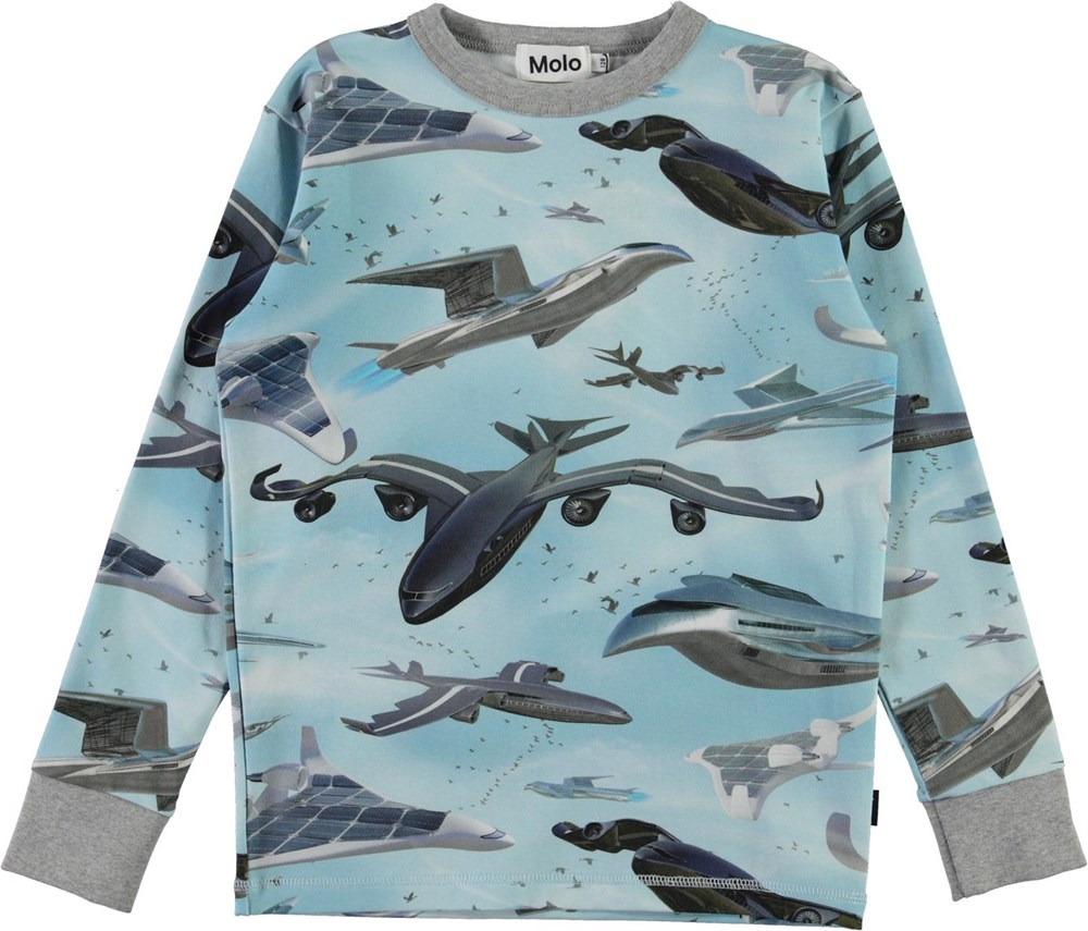 Rill - Biomimicry - Light blue organic t-shirt with airplane print